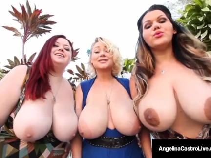 Hot BBW Angelina Castro & 2 BBW Friends Suck Big Black Cock!